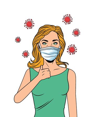 woman using face mask for covid19 pop art style vector illustration design