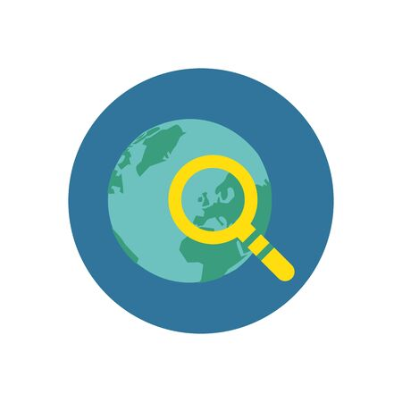 world planet earth with magnifying glass vector illustration design