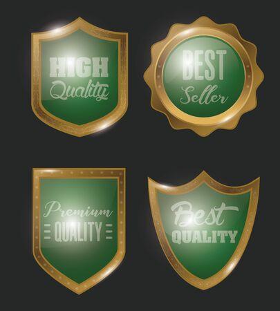 bundle of badges golden emblems icon vector illustration design
