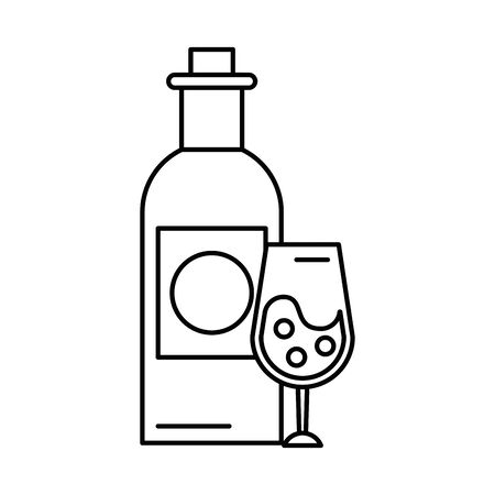 wine bottle drink with cup illustration design