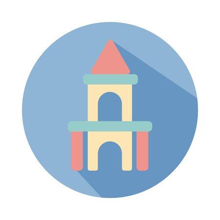 castle child toy block style icon illustration design