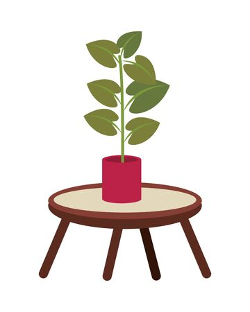 center table with houseplant forniture icon vector illustration design