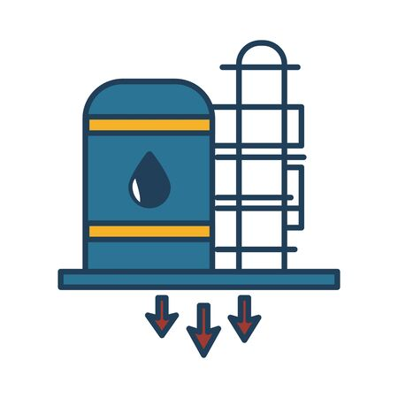 oil tank refinery fill style icon vector illustration design
