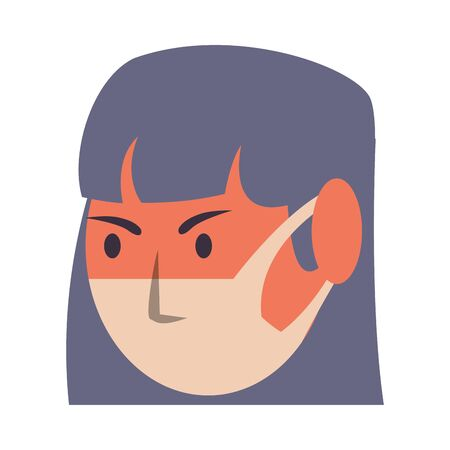 woman using face mask head character vector illustration design