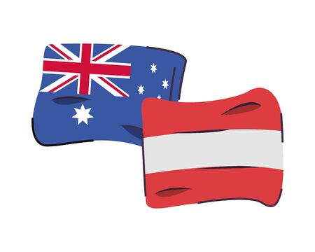 australia and austria flags countries isolated icon vector illustration design