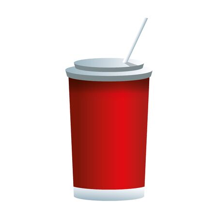 soda cup with straw over white background, colorful design, vector illustration