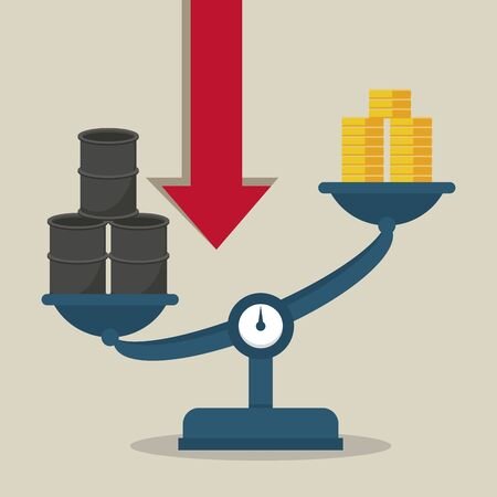 oil price infographic with barrels and balance vector illustration design