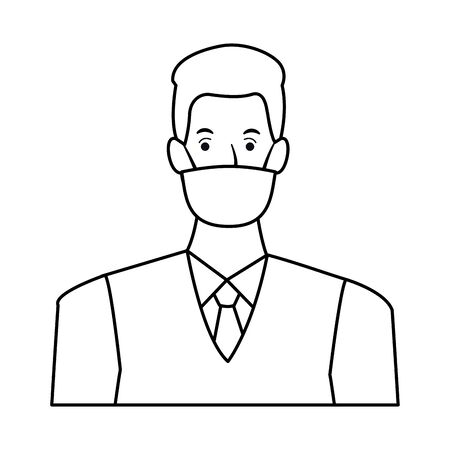 businessman using face mask for covid19 character vector illustration design