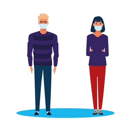 couple using face mask for covid19 vector illustration design
