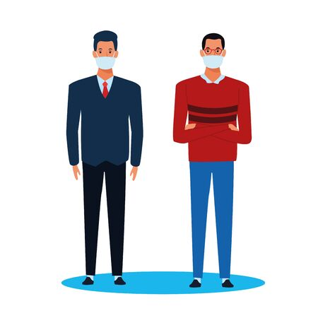men using face mask for covid19 character vector illustration design