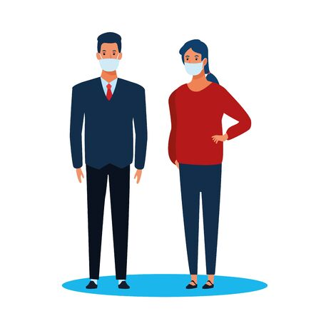 business couple using face mask for covid19 vector illustration design  イラスト・ベクター素材