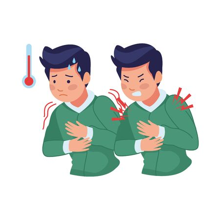 men sick with fever and chest pain covid19 symptoms vector illustration design