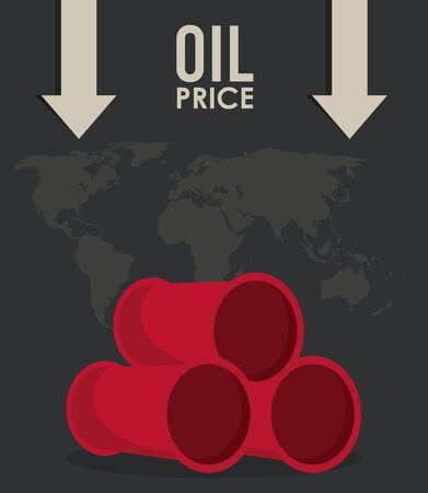 oil price infographic with barrels and earth planet vector illustration design Ilustração