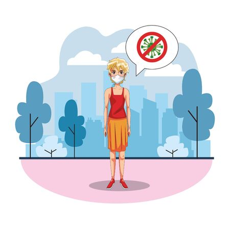 woman using face mask on the city vector illustration design