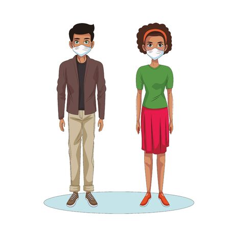 interracial couple using face masks characters vector illustration design