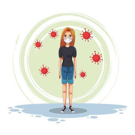 woman using face maskand covid19 particles vector illustration design
