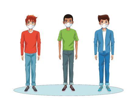 interracial men using face masks characters vector illustration design  イラスト・ベクター素材