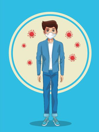 man using face mask and covid19 particles vector illustration design  イラスト・ベクター素材