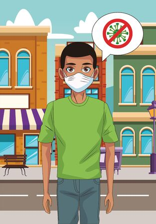 man using face mask with stop covid19 in the street vector illustration design