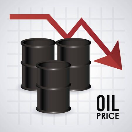 oil price infographic with barrels and arrow vector illustration design 向量圖像