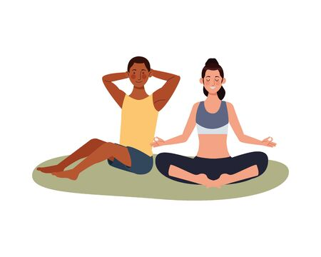 interracial couple athlete practicing exercise characters vector illustration design