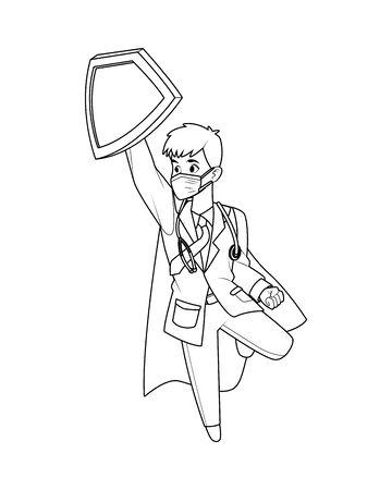 super doctor flying with shield vector illustration design Vector Illustration