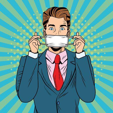 man using face mask fot covid19 pop art style vector illustration