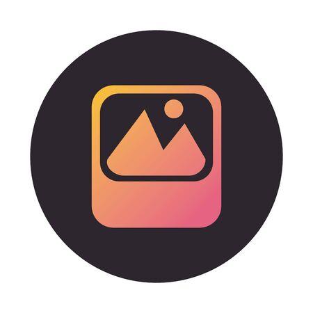 picture file format block style icon vector illustration design Vettoriali