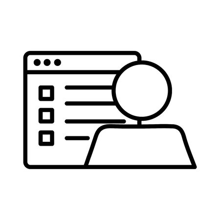 template webpage with user avatar line style icon vector illustration design
