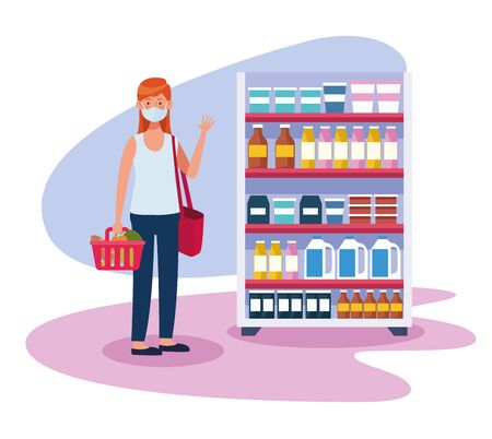 woman shopping in supermarket with face mask vector illustration design