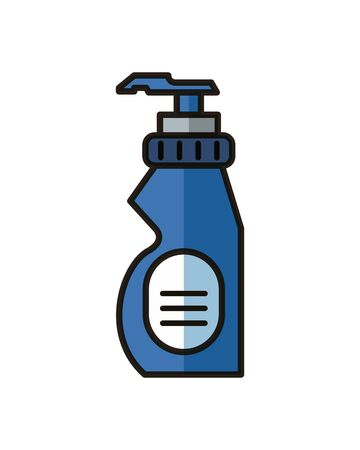 disinfectant plastic bottle product with push dispenser flat style vector design