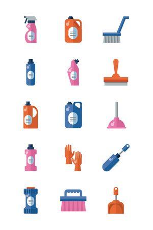 bundle of desinfectants set icons vector illustration design