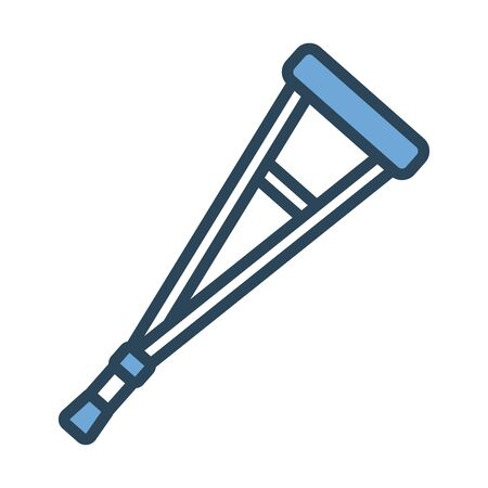 crutches medical tool half line and color style icon vector illustration design