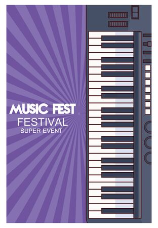 music fest poster with piano vector illustration design