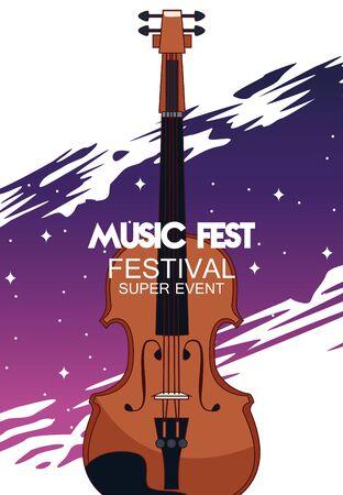 music fest poster with fiddle vector illustration design