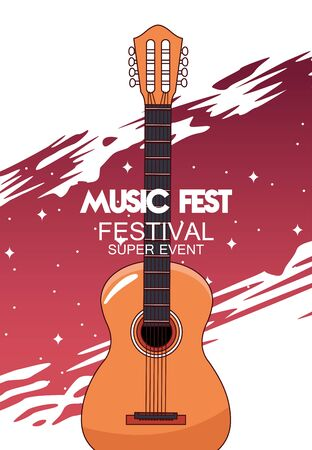 music fest poster with acoustic guitar vector illustration design Vectores