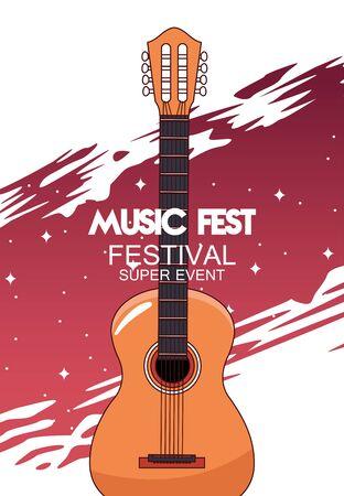 music fest poster with acoustic guitar vector illustration design Illustration