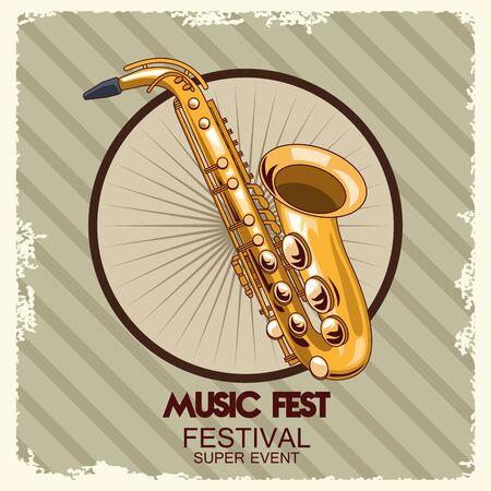 music fest poster with saxophone vector illustration design Illustration