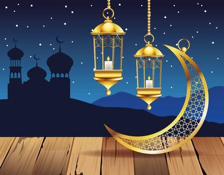 ramadan kareem celebration with lamps and moon vector illustration design