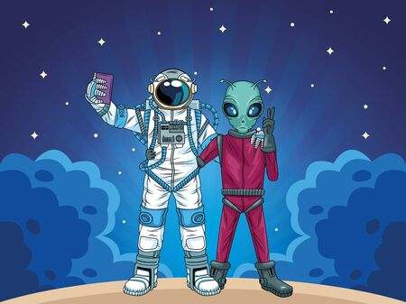astronaut and alien taking a selfie in the space vector illustration design