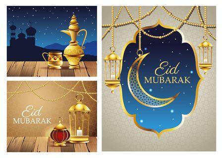 ramadan kareem celebration cards set scenes vector illustration design