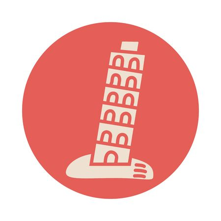 pisa tower block style icon vector illustration design