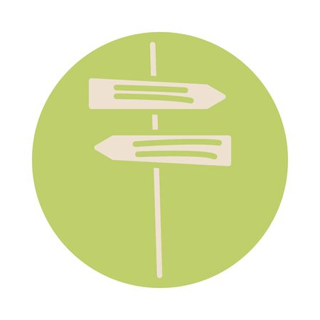 arrows wooden signal block style icon vector illustration design