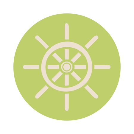 helm ship block style icon vector illustration design