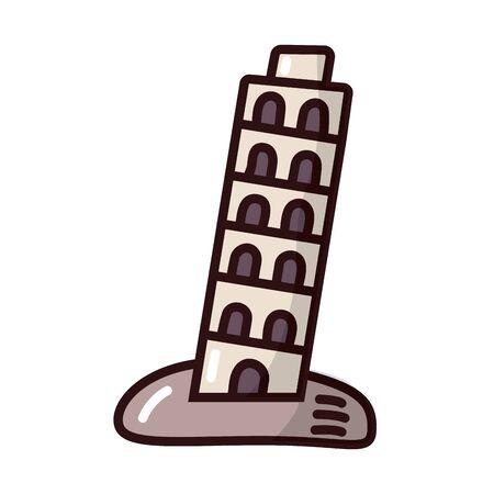 pisa tower fill style icon vector illustration design  イラスト・ベクター素材