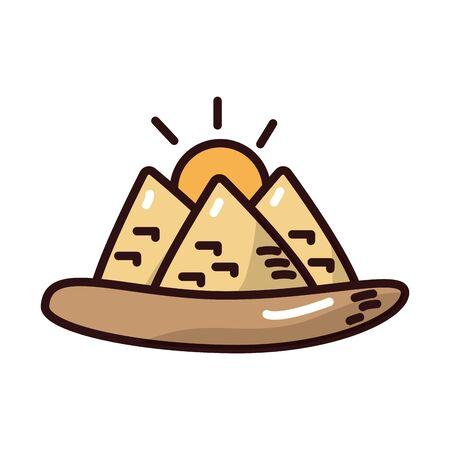 desert egypt pyramids scene fill style icon vector illustration design Ilustração