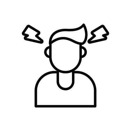 person with headache covid19 symptom line style icon vector illustration design