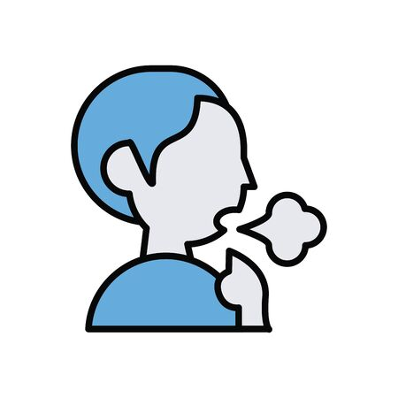 person coughing sick line and fill style icon vector illustration design