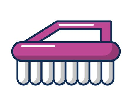 handle brush cleaning flat style vector illustration design