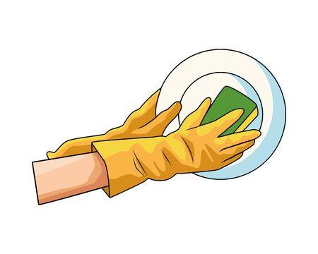 washing utensils prevention method covid19 vector illustration design